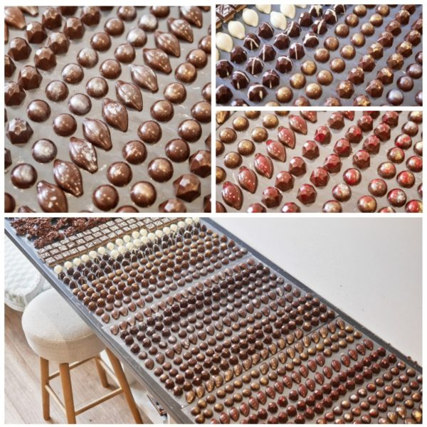 Bonbons de chocolat moulés par Camille pâtisse