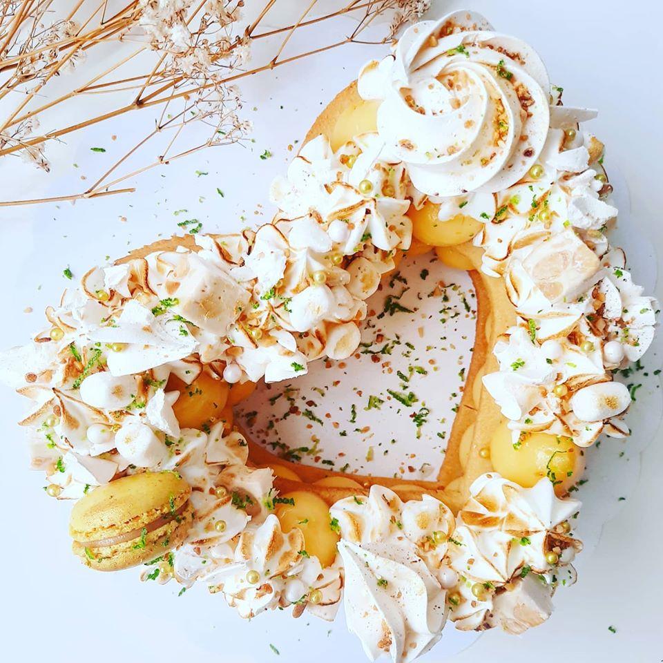 Gâteau coeur citron meringué