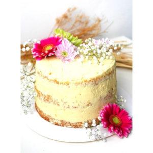 Naked cake vanille framboises
