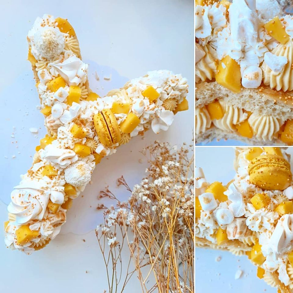 Letter cake vanille mangue